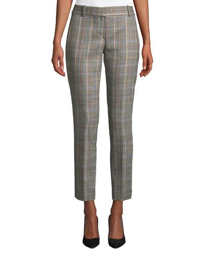 Autumn Plaid Straight-Leg Ankle Trousers