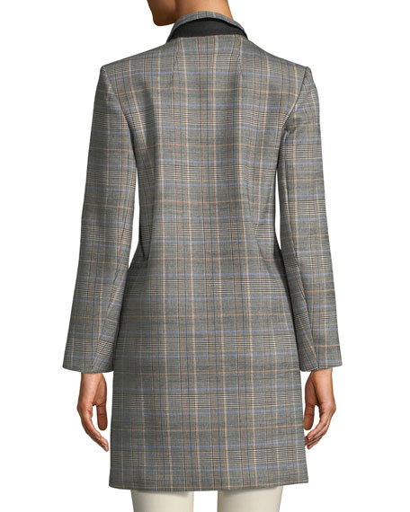 Double-Breasted Plaid Wool Coat