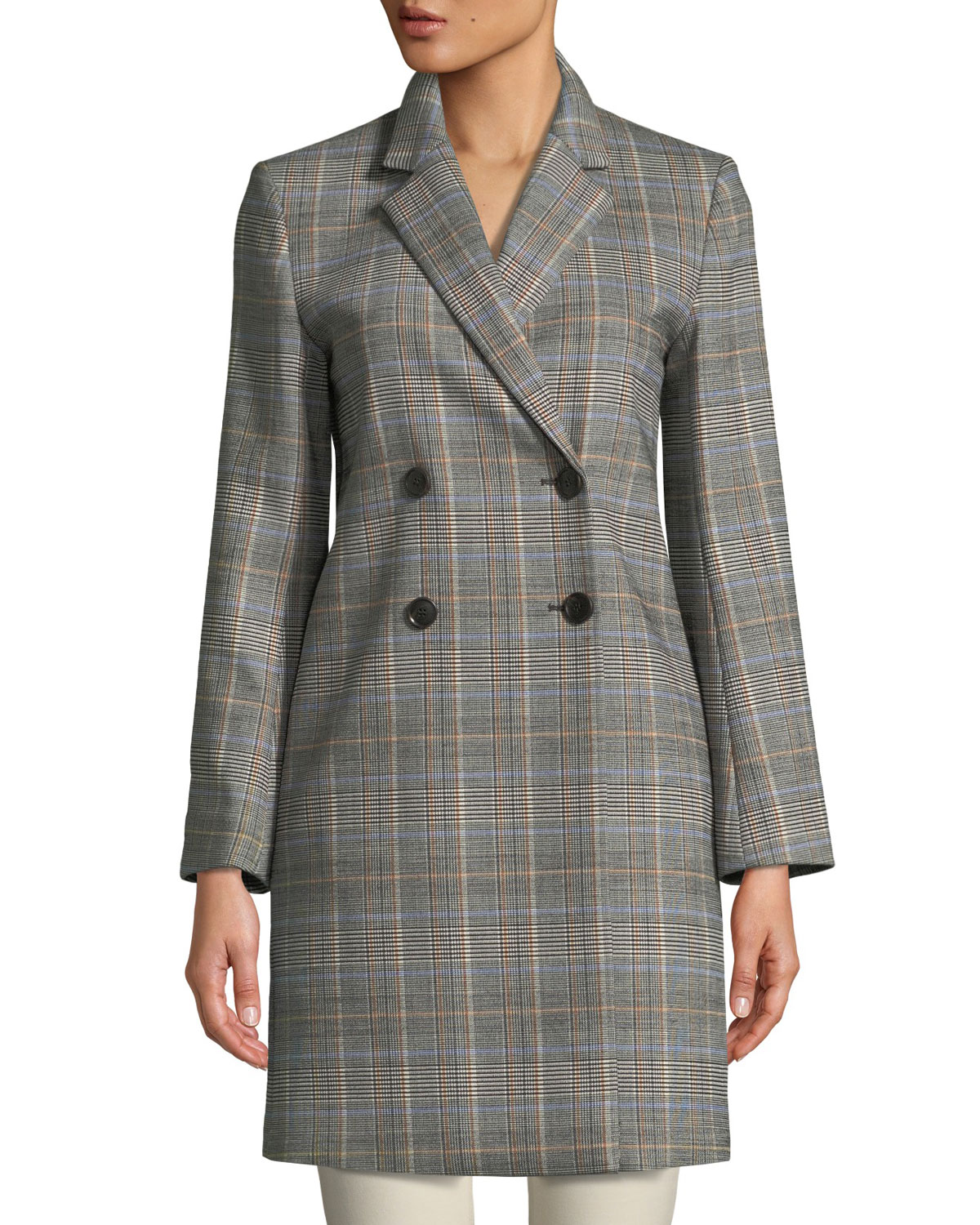 3a4f6f85a35 Theory Double-Breasted Plaid Wool Coat | Neiman Marcus