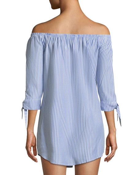 Ciara Off-the-Shoulder Tie-Sleeve Shirtdress