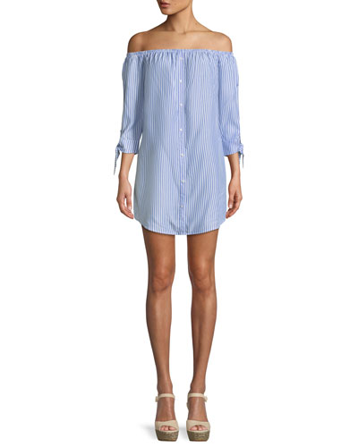 Ciara Off-the-Shoulder Tie-Sleeve Shirtdress