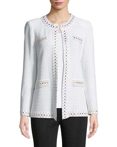 Stud-Trim Knit Jacket