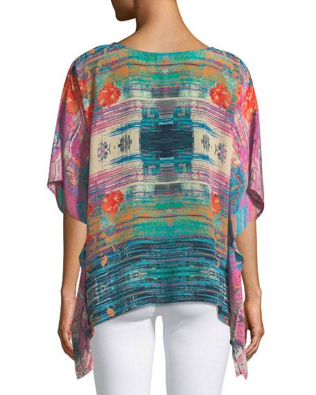 Briyana Watercolor-Print Silk Tunic Top