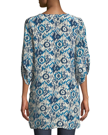 Ingrid Long Easy Embroidered Cupro Tunic, Plus Size