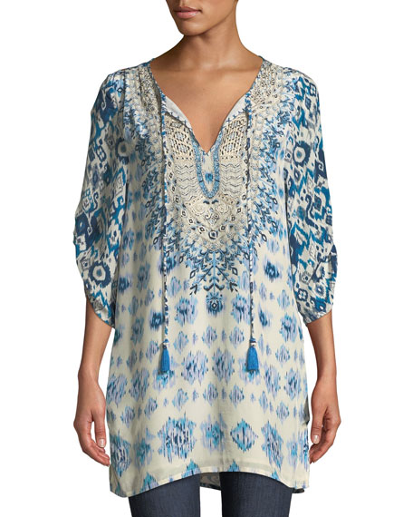 Tolani Ingrid Long Easy Embroidered Cupro Tunic, Plus