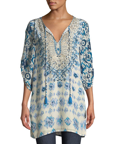Ingrid Long Easy Embroidered Cupro Tunic