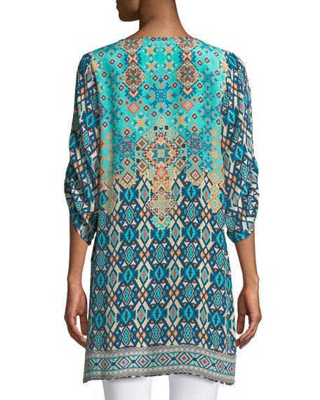 Josephine Southwestern Silk Tunic, Plus Size
