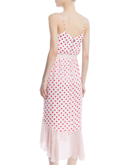 Mable Faux-Wrap Polka-Dot Midi Dress