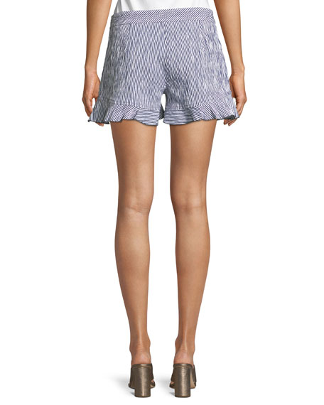 Rocklin Ruffle-Hem Seersucker Striped Shorts