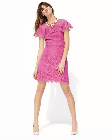 Copper Flower Field Lace Mini Dress