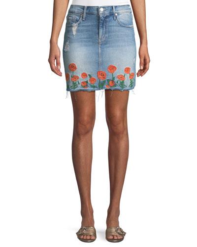 High-Waist Frayed Embroidered Denim Mini Skirt