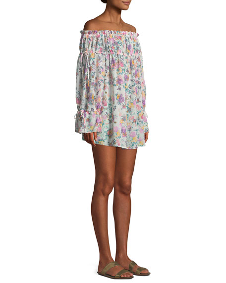 Brogan Floral-Print Off-the-Shoulder Mini Coverup Dress