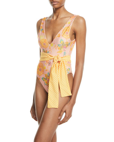 Claudia Belted Floral One-Piece Swimsuit