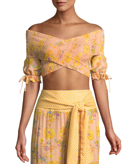 Fran Smocked Floral Crop Top