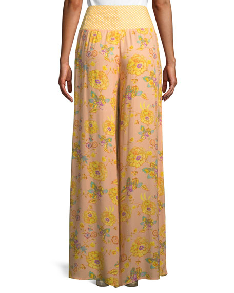 Fran Printed High-Waist Wide-Leg Pants