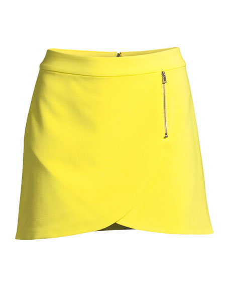 Lennon Side-Zip Overlap Mini Skirt