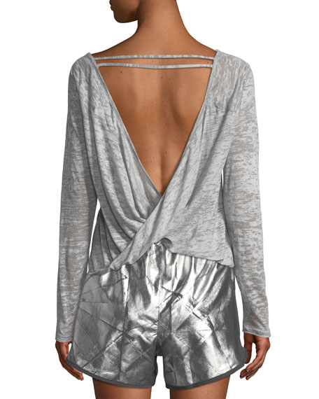 Open-Back Long-Sleeve Burnout Top
