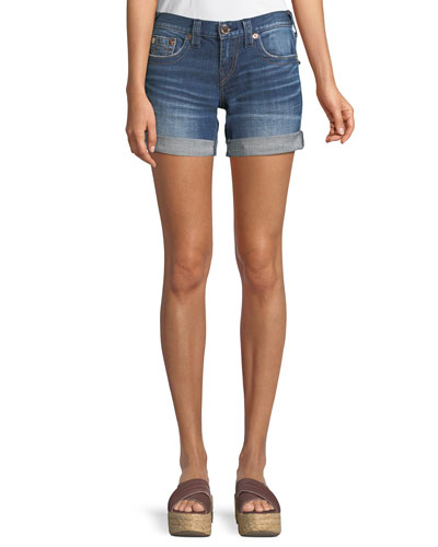Jayde Mid-Rise Rolled-Hem Denim Shorts with Flap Pockets