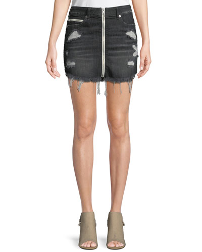 High-Rise Front-Zip Skirt with Destroy