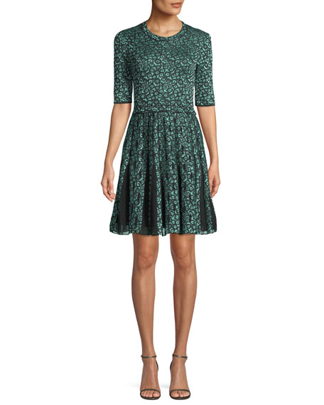 M Missoni Geometric Devore Half-Sleeve Dress