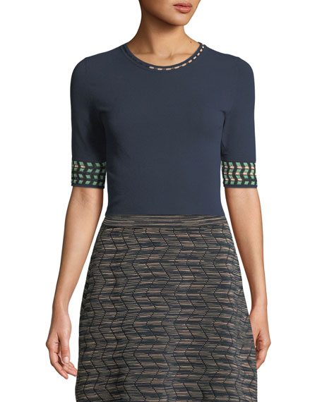M Missoni Graphic-Cuff Solid Knit Top