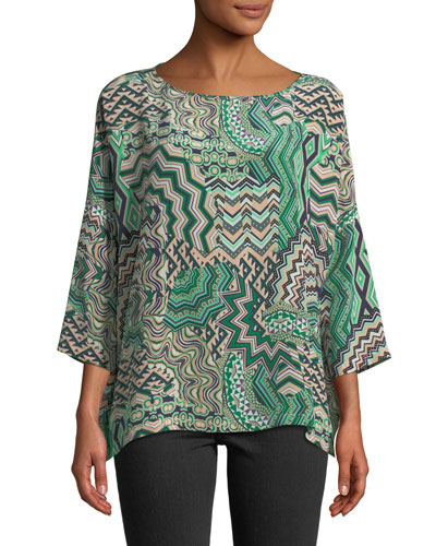 Zigzag Mosaic Silk Top