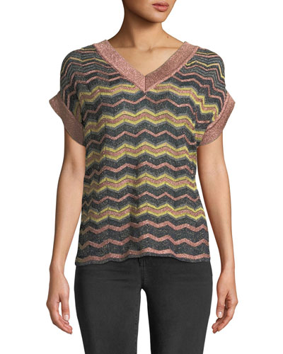 Metallic Zigzag V-Neck Top