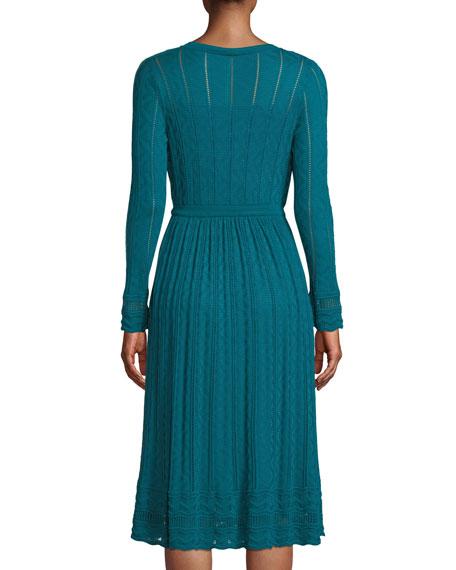 Long-Sleeve Textured Knit A-Line Dress