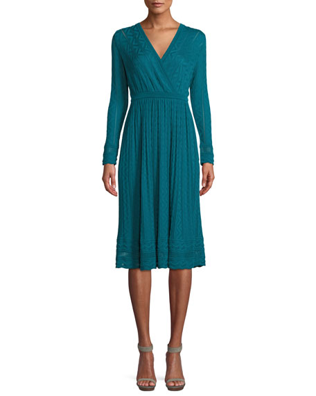 M Missoni Long-Sleeve Textured Knit A-Line Dress
