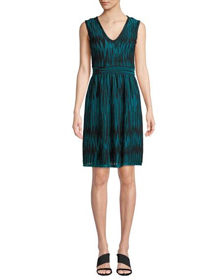Two-Tone Devore Velvet Sleeveless Dress