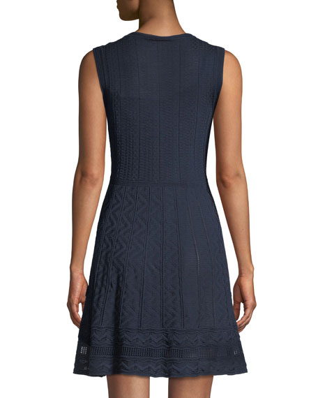Textured Knit V-Neck Dress