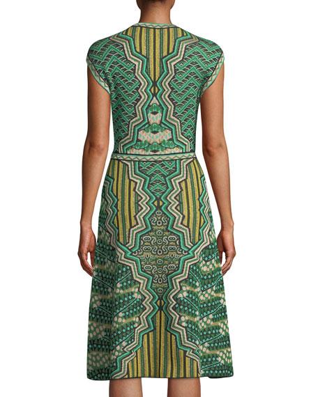 Graphic Jacquard Cap-Sleeve Midi Dress