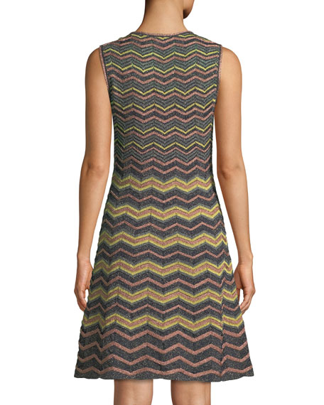 Metallic Zigzag A-Line Dress