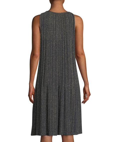 Metallic Plisse A-Line Dress