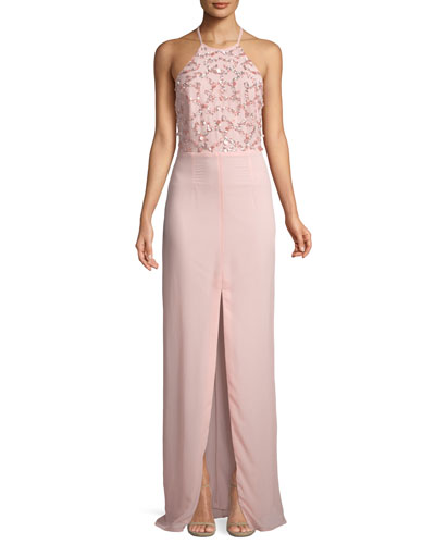 Beaded Halter-Neck Column Gown