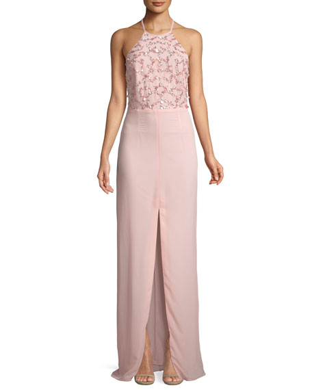 Aidan by Aidan Mattox Beaded Halter-Neck Column Gown