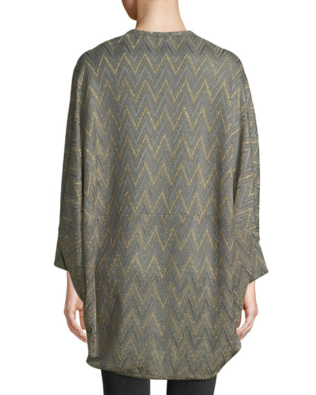 Metallic Zigzag Cape Cardigan