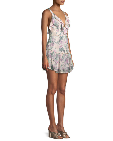 Floral Pleasure Sleeveless Ruffle Mini Dress
