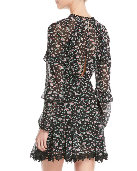 Unwavering Glamour Long-Sleeve Floral Mini Dress