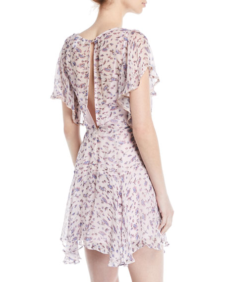 Incandescent Floral Ruffle Mini Dress