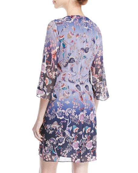 Ombré Kimono Mini Dress