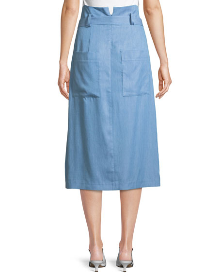 Chambray Draped Wrap Skirt