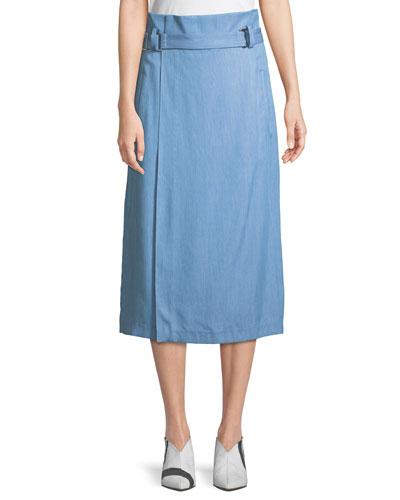 Chambray Draped Wrap Skirt