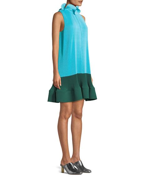 Camellia Pleated Colorblock Ruffle Dress