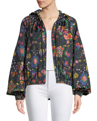 Floral-Print Anorak Jacket with Detachable Hood
