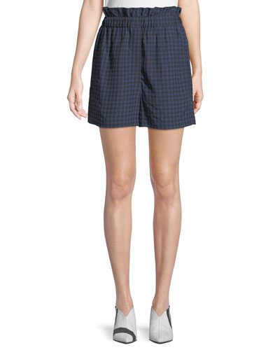 Gingham-Print Ruffle Pull-On Shorts