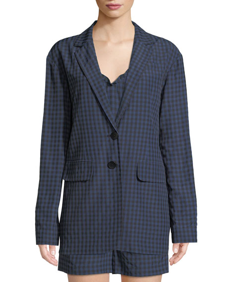 Gingham-Print Oversized Two-Button Blazer