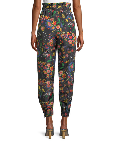 Image 2 of 4: Floral-Print Ruffle Tech Jogger Pants