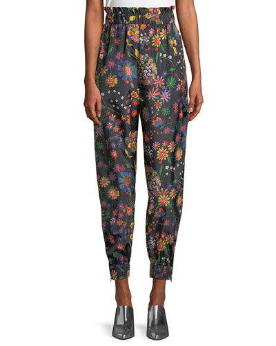 Floral-Print Ruffle Tech Jogger Pants