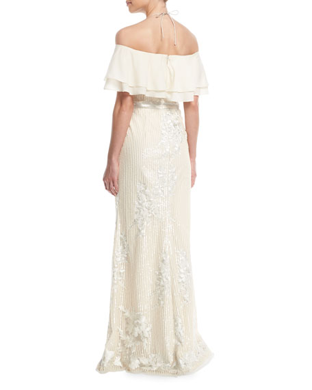 Popover Sequin Gown